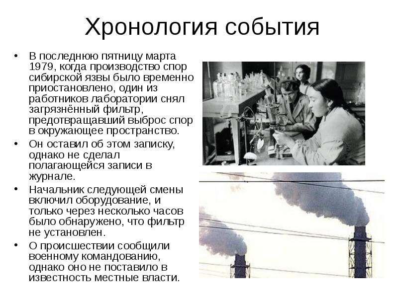 Хронология события В последнюю пятницу марта 1979, когда производство спор сибирской язвы было време