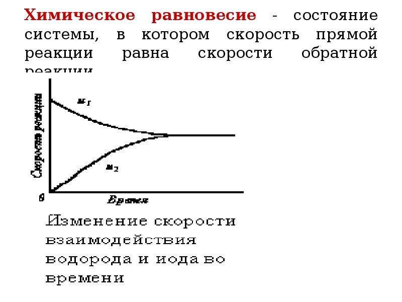 Химическое равновесие - состояние системы, в котором скорость прямой реакции равна скорости обратной