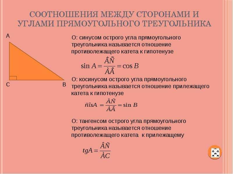 Соотношения между сторонами и углами прямоугольного треугольника