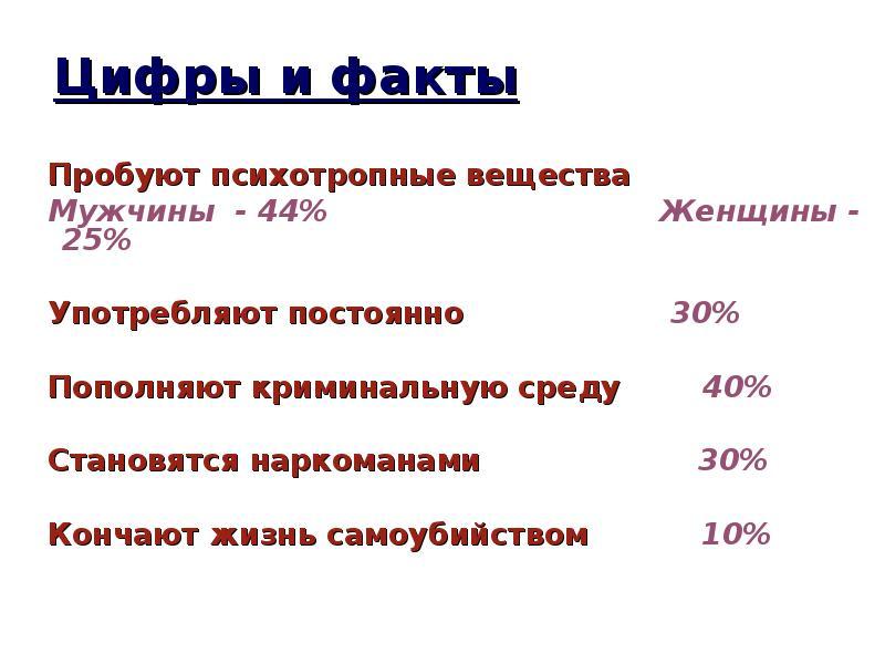 Цифры и факты Пробуют психотропные вещества Мужчины - 44% Женщины - 25% Употребляют постоянно 30% По