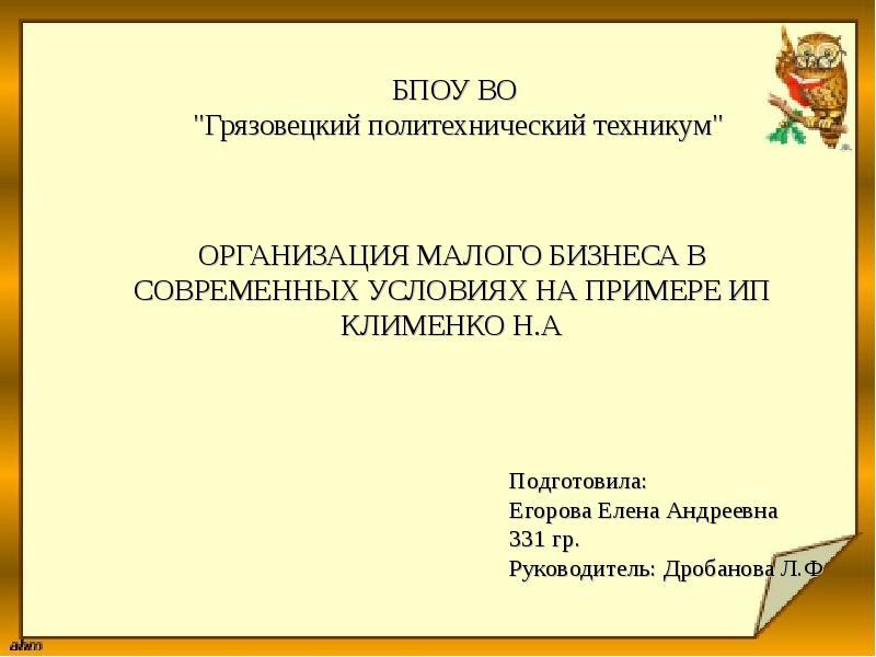 Презентация Организация малого бизнеса в современных условиях на примере ИП Клименко Н. А