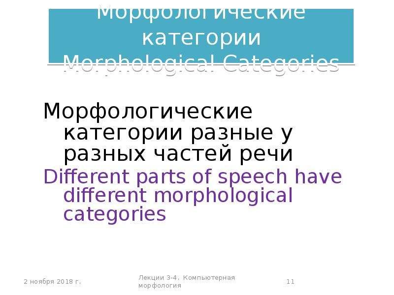 Морфологические категории Morphological Categories