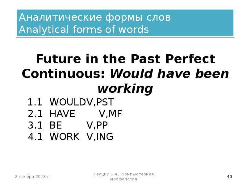 Аналитические формы слов Analytical forms of words