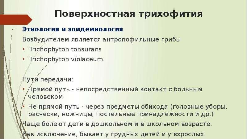 Поверхностная трихофития Этиология и эпидемиология Возбудителем является антропофильные грибы Tricho