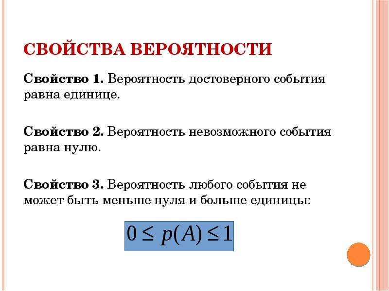 Свойства вероятности Свойство 1. Вероятность достоверного события равна единице. Свойство 2. Вероятн