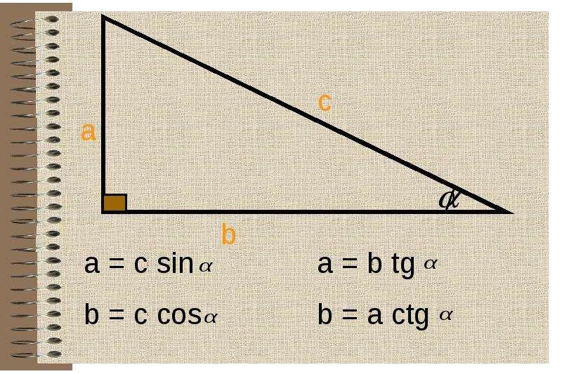 Соотношение между сторонами и углами в прямоугольном треугольнике, слайд 15