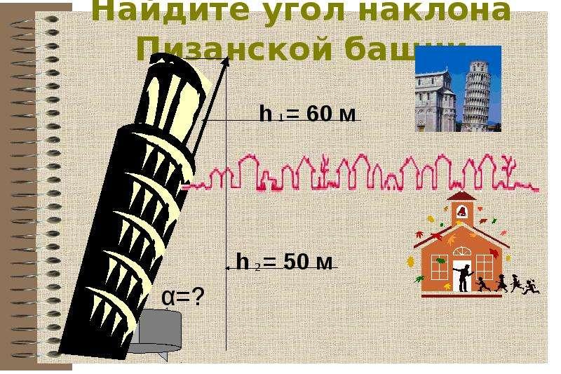 Найдите угол наклона Пизанской башни