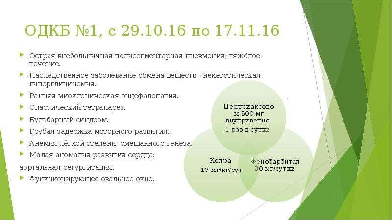 ОДКБ №1, с 29. 10. 16 по 17. 11. 16 Острая внебольничная полисегментарная пневмония, тяжёлое течение