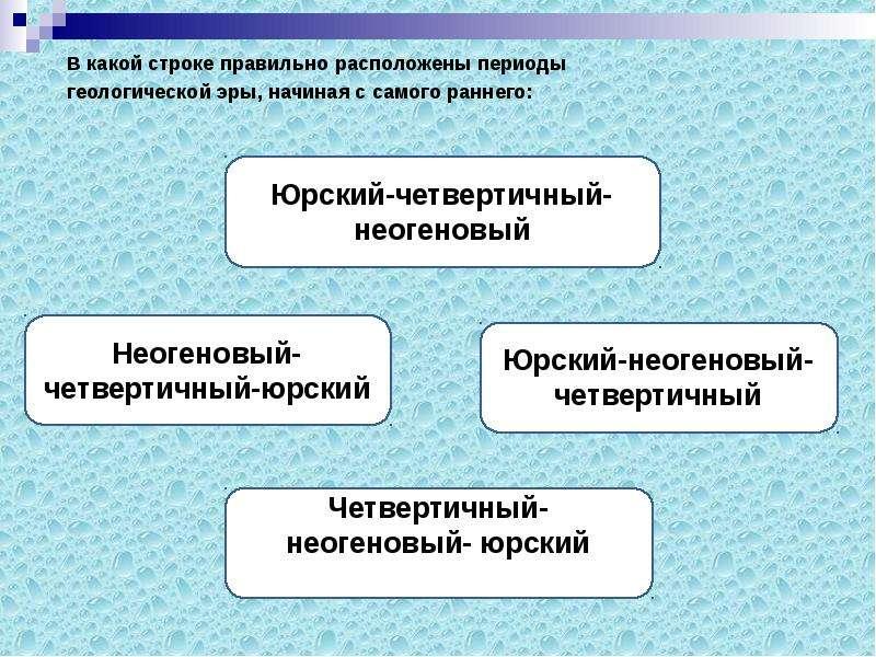 В какой строке правильно расположены периоды В какой строке правильно расположены периоды геологичес