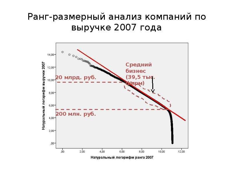 Ранг-размерный анализ компаний по выручке 2007 года