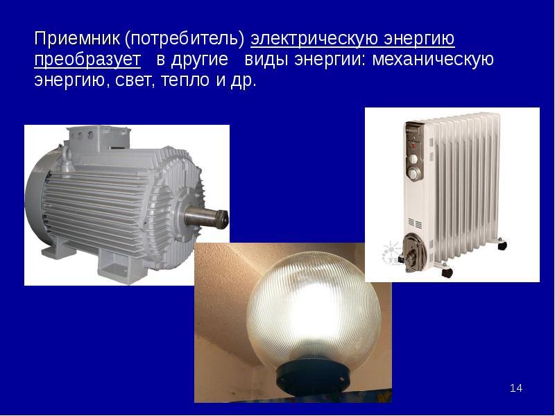 Приемник (потребитель) электрическую энергию преобразует в другие виды энергии: механическую энергию