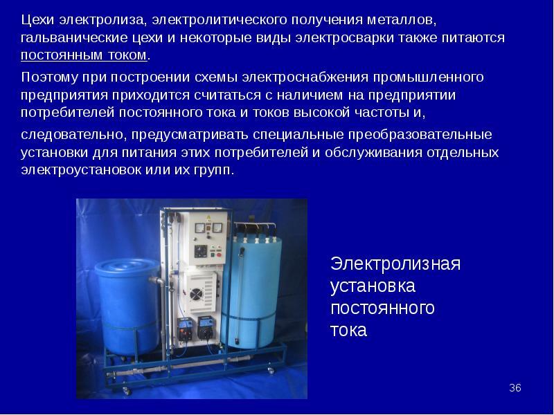 Цехи электролиза, электролитического получения металлов, гальванические цехи и некоторые виды электр
