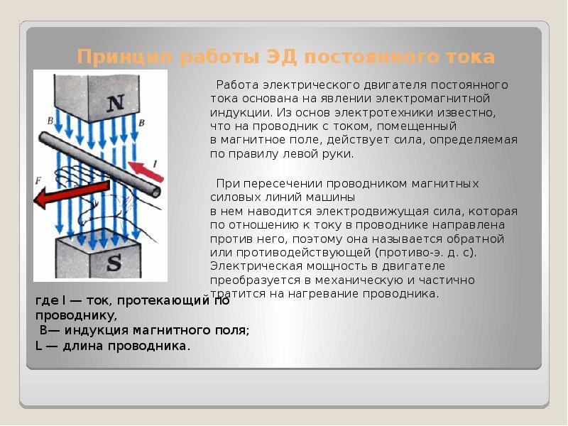 Принцип работы ЭД постоянного тока Работа электрического двигателя постоянного тока основана на явле