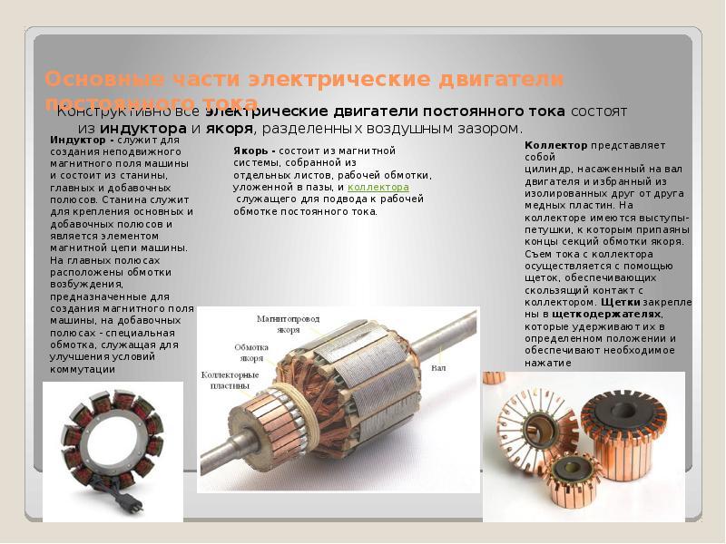 Основные части электрические двигатели постоянного тока Конструктивно все электрические двигатели по
