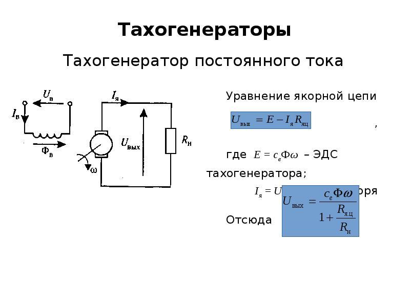 Тахогенераторы Тахогенератор постоянного тока