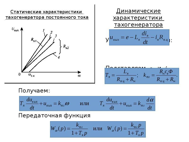 Статические характеристики тахогенератора постоянного тока