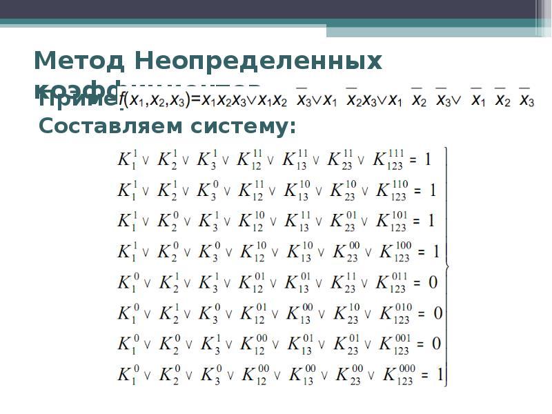Метод Неопределенных коэффициентов Пример: Составляем систему:
