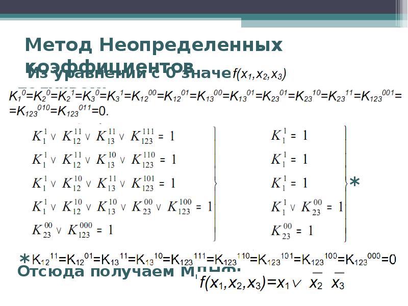 Метод Неопределенных коэффициентов Из уравнений с 0 значениями получаем: Отсюда получаем МДНФ: