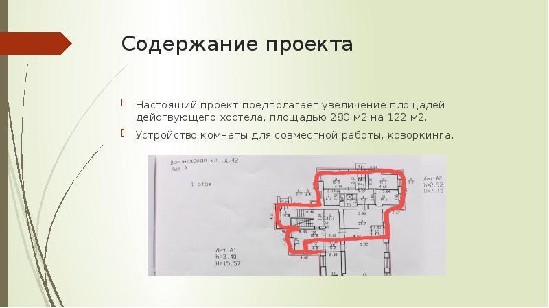Содержание проекта Настоящий проект предполагает увеличение площадей действующего хостела, площадью