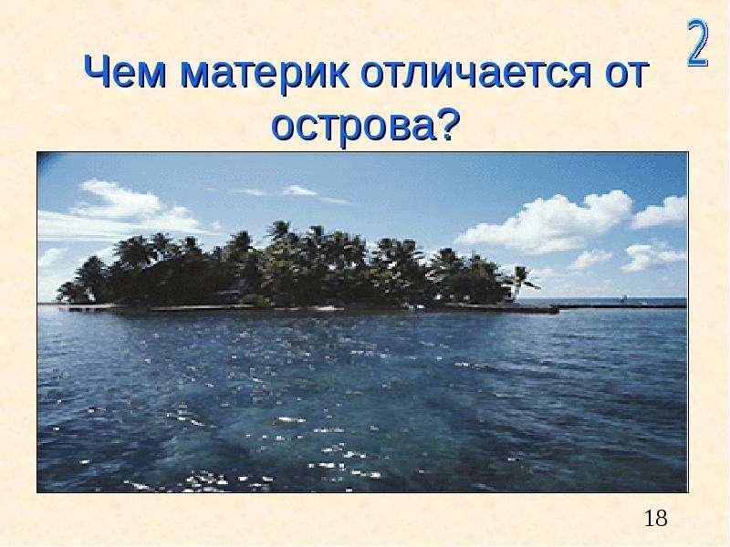 Чем материк отличается от острова?