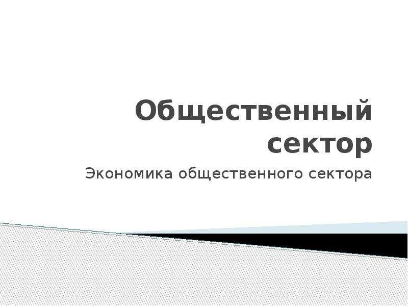 Презентация Общественный сектор. Экономика общественного сектора