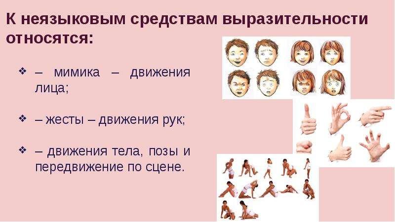 К неязыковым средствам выразительности относятся: – мимика – движения лица; – жесты – движения рук;