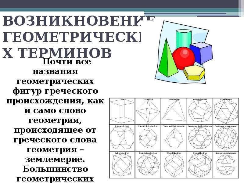 ВОЗНИКНОВЕНИЕ ГЕОМЕТРИЧЕСКИХ ТЕРМИНОВ Почти все названия геометрических фигур греческого происхожден