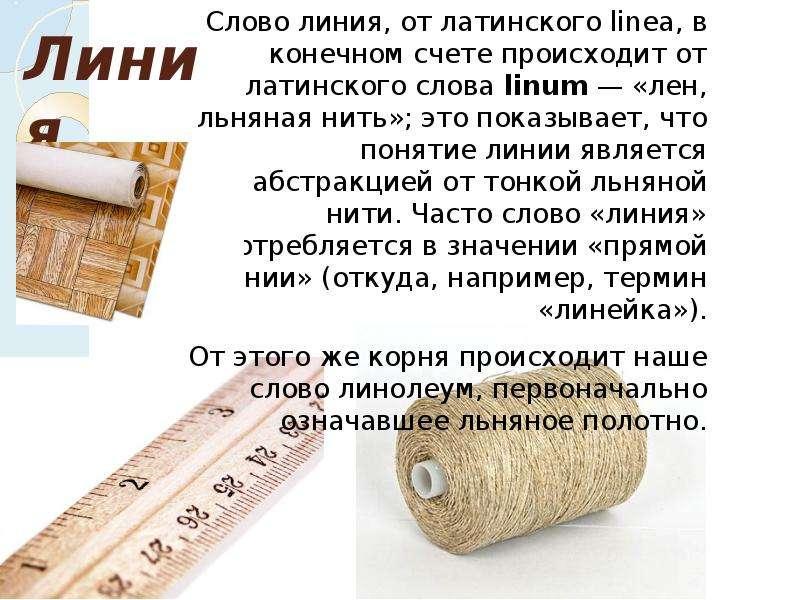 Линия Слово линия, от латинского linea, в конечном счете происходит от латинского слова linum — «лен