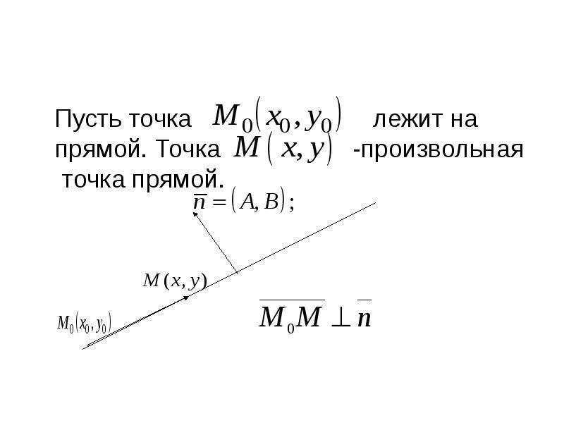 Пусть точка лежит на прямой. Точка -произвольная точка прямой.