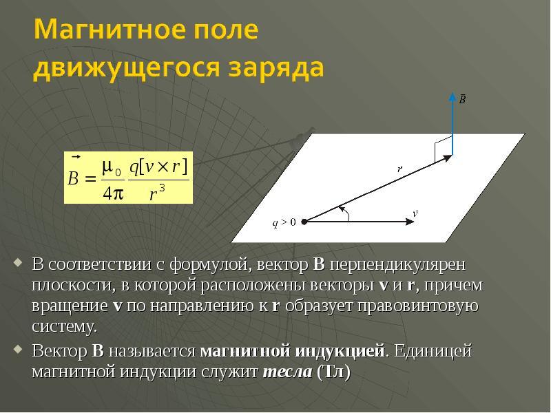 В соответствии с формулой, вектор B перпендикулярен плоскости, в которой расположены векторы v и r,