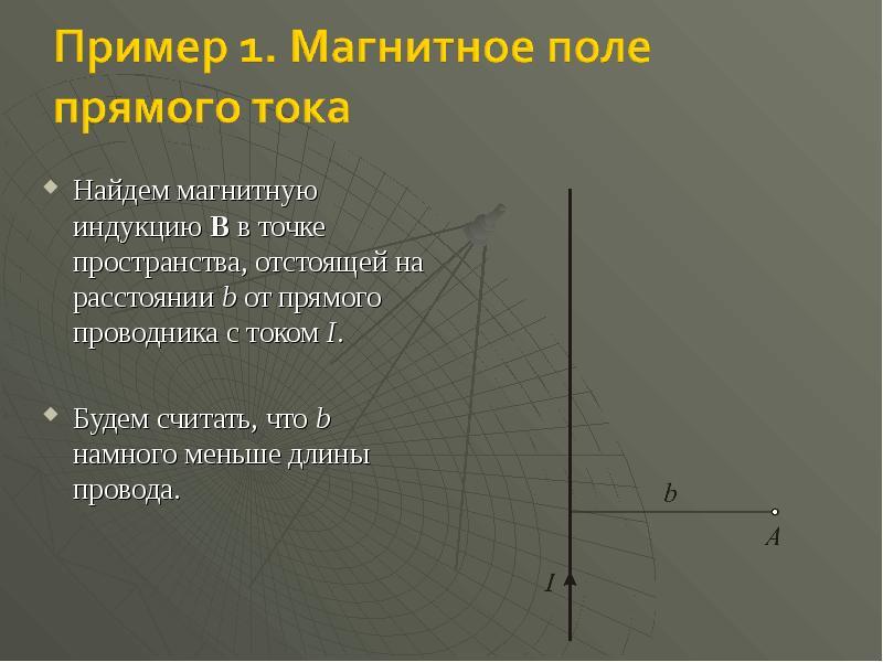 Найдем магнитную индукцию B в точке пространства, отстоящей на расстоянии b от прямого проводника с