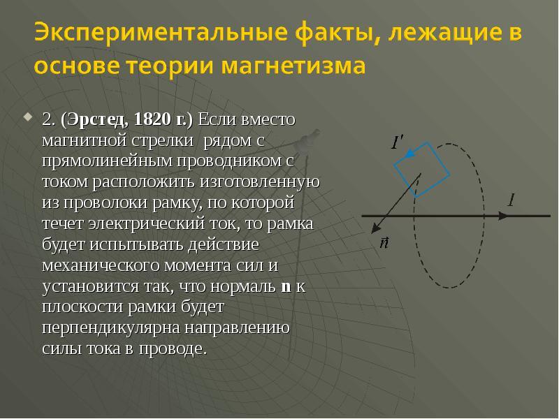 2. (Эрстед, 1820 г. ) Если вместо магнитной стрелки рядом с прямолинейным проводником с током распол