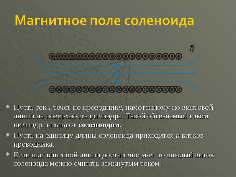 Пусть ток I течет по проводнику, намотанному по винтовой линии на поверхность цилиндра. Такой обтека