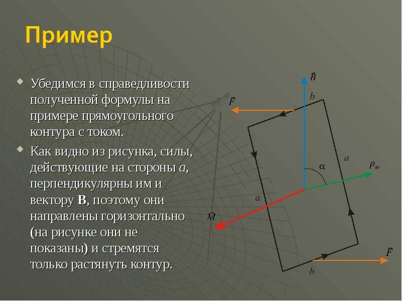 Убедимся в справедливости полученной формулы на примере прямоугольного контура с током. Убедимся в с