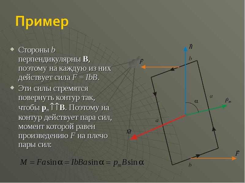Стороны b перпендикулярны B, поэтому на каждую из них действует сила F = IbB. Стороны b перпендикуля