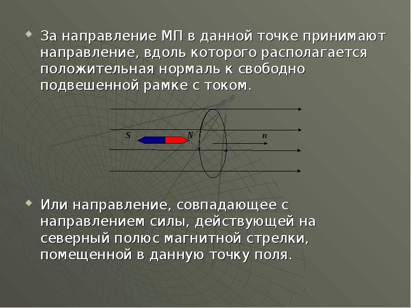 За направление МП в данной точке принимают направление, вдоль которого располагается положительная н
