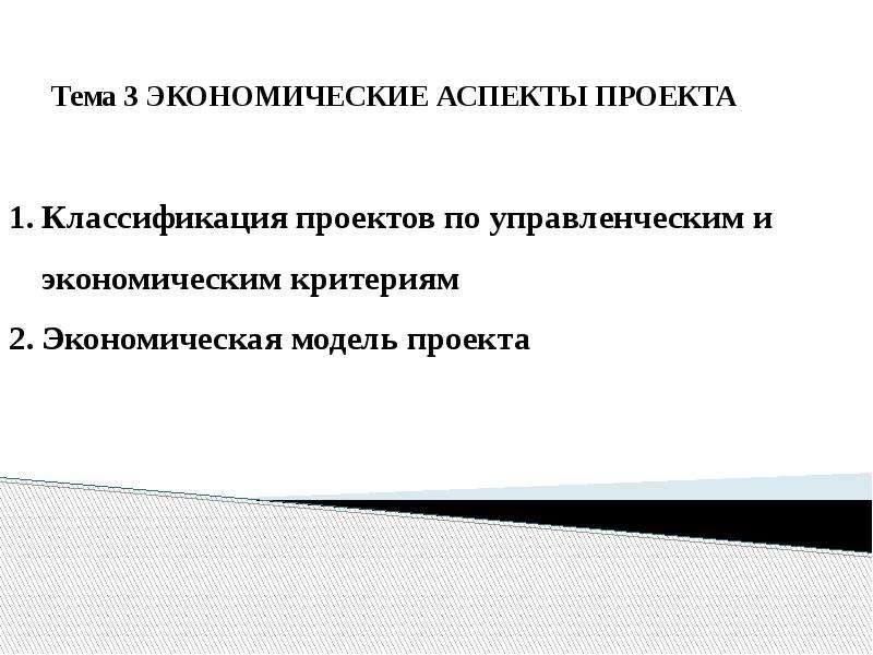 Презентация Экономические аспекты проекта