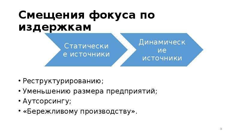 Смещения фокуса по издержкам Реструктурированию; Уменьшению размера предприятий; Аутсорсингу; «Береж