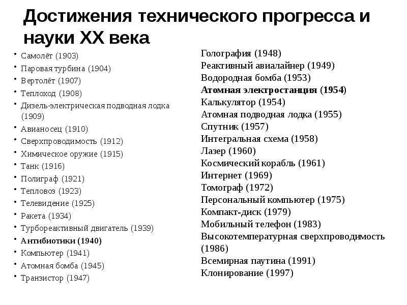 Достижения технического прогресса и науки ХХ века Самолёт (1903) Паровая турбина (1904) Вертолёт (19