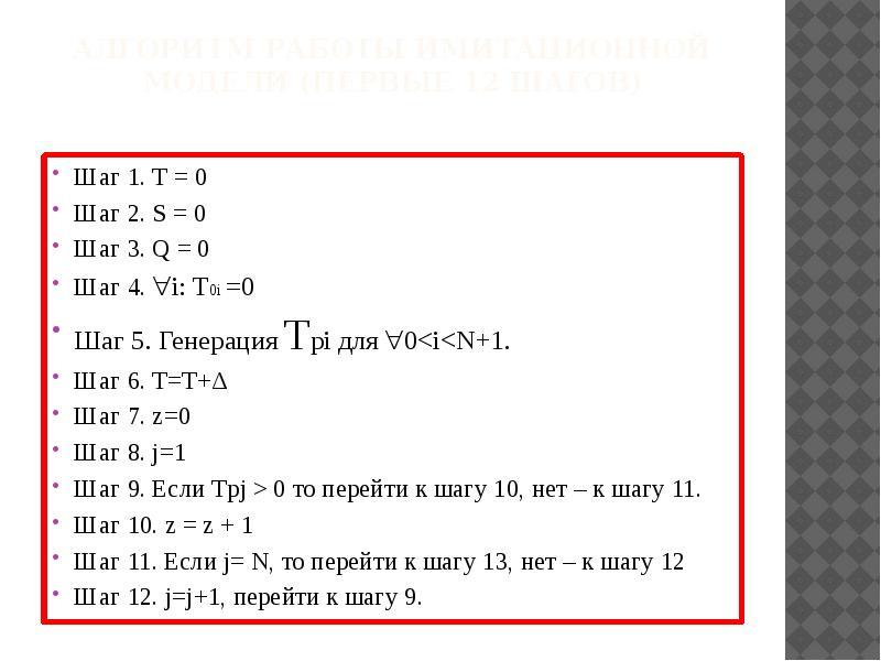 Алгоритм работы имитационной модели (первые 12 шагов) Шаг 1. Т = 0 Шаг 2. S = 0 Шаг 3. Q = 0 Шаг 4.