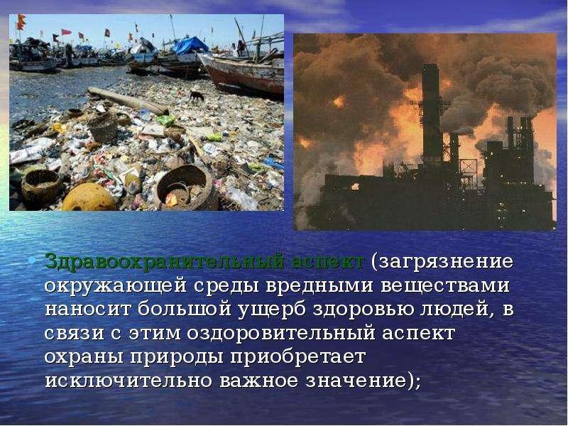 Здравоохранительный аспект (загрязнение окружающей среды вредными веществами наносит большой ущерб з