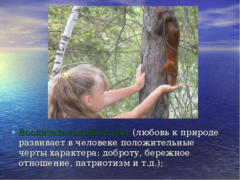 Воспитательный аспект (любовь к природе развивает в человеке положительные черты характера: доброту,