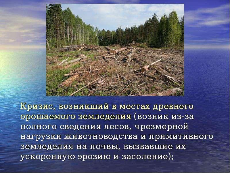 Кризис, возникший в местах древнего орошаемого земледелия (возник из-за полного сведения лесов, чрез