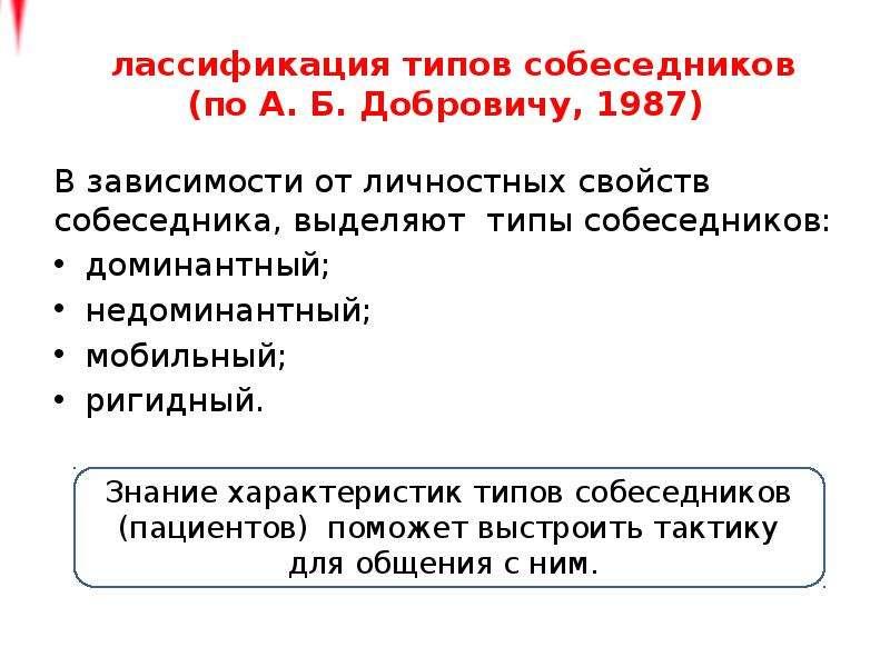 Классификация типов собеседников (по А. Б. Добровичу, 1987) В зависимости от личностных свойств собе