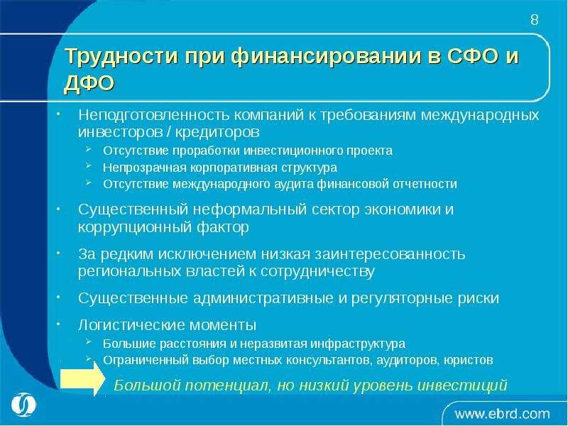 Неподготовленность компаний к требованиям международных инвесторов / кредиторов Неподготовленность к