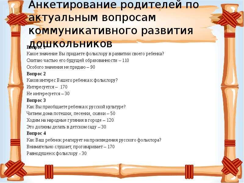 Анкетирование родителей по актуальным вопросам коммуникативного развития дошкольников Вопрос 1 Какое