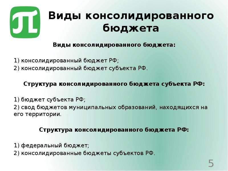 Виды консолидированного бюджета Виды консолидированного бюджета: 1) консолидированный бюджет РФ; 2)