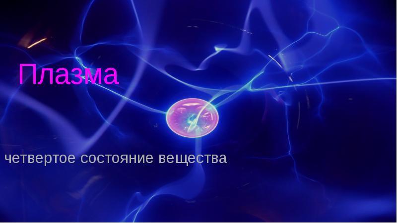Презентация Четвертое состояние вещества плазма