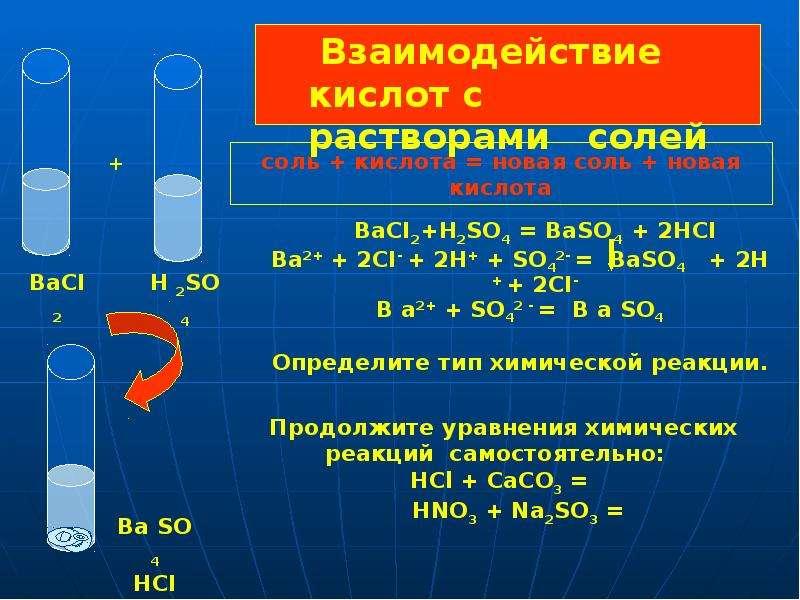 Взаимодействие кислот с растворами солей BaCI2+H2SO4 = BaSO4 + 2HCI Ba2+ + 2CI- + 2Н+ + SО42- = BaSO