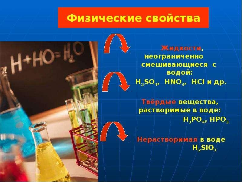 Физические свойства Жидкости, неограниченно смешивающиеся с водой: H2SO4, HNO3, HCI и др. Твёрдые ве